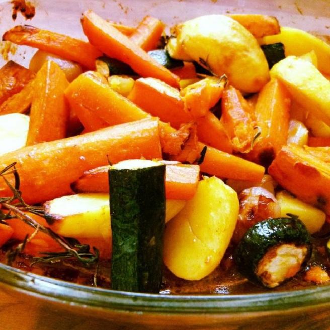 Ofengemüse mit Balsamico-Honig-Glasur